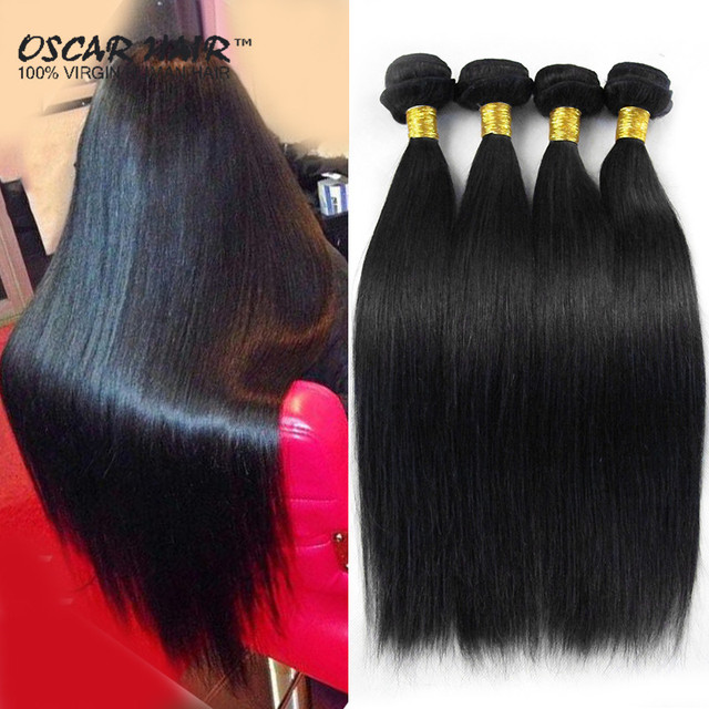 Unprocessed Indian Virgin Hair Straight 4 Pcs Silky Human Hair Weave