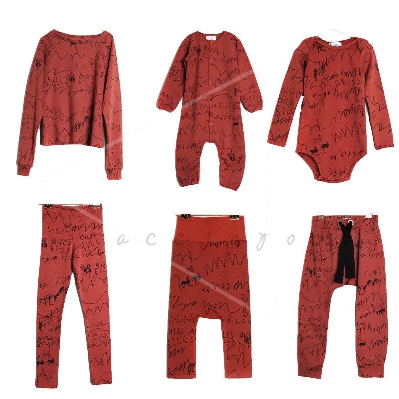 Conjuntos de ropa para niños 2018 otoño Lobo Rita bebé niños mamelucos Niñas Ropa niños ladrillo rojo Graffiti camiseta pantalones Vestidos