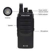 מכשיר הקשר Vineyuan K12 צריכת חשמל גבוהה 12W ארוך טווח 6800 mAh מכשיר הקשר UHF 400-470 Mhz שני הדרך רדיו כף יד FM משדר Interphone (3)