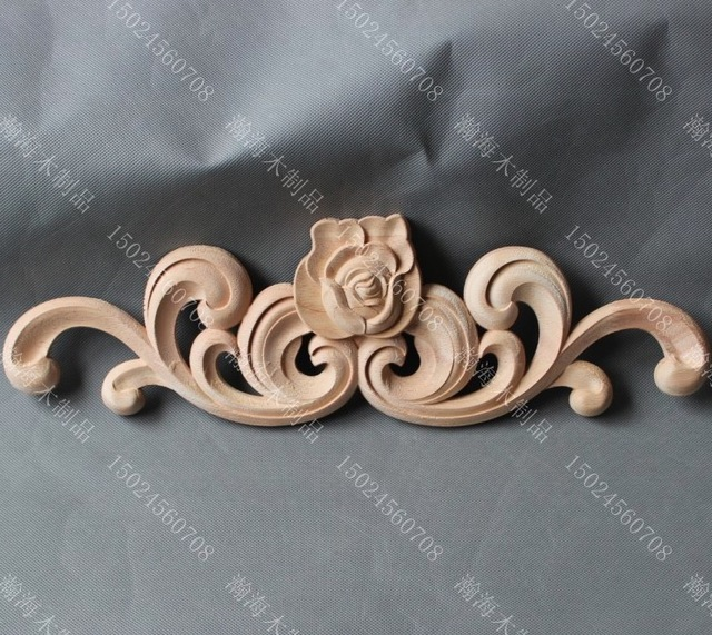 2pcs Lot 42 5 13 1 5cm Wood Carving European Style Decals Wardrobe Cabinets Rose Flower In Furniture Accessories From