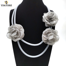 YD&YDBZ New Grey Rope And Flowers Collar Necklace Rubber Necklaces For Women Fashion Vintage Style Jewelry Simple Handmade Gifts