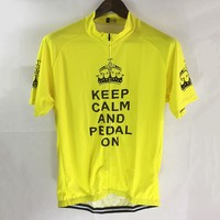 CUSROO 2016 New Mens Keep Calm And Pedal On Funny Cycling Jersey Man Short Sleeve Summer