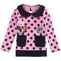 one piece fashion new embroider flower with pocket girl t shirt polka dot baby girl long sleeve t shirt