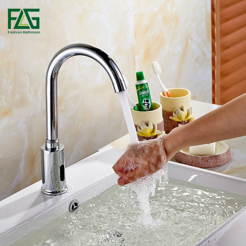 купить FLG Water Saving Basin Faucets Chrome Touchless faucet Fully-automatic Faucet Infrared Sensor Tap Waterfall Bathroom Faucet 8809 по цене 4268.2 рублей