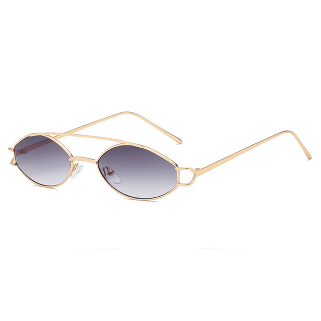 61a11c95ab New 2019 Fashion Trend Women Oval Sunglasses Vintage Thin Frame Double beam  Metal Spectacles Sea Lens Oculos feminino UV400 H5