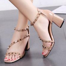 women pumps summer heel sandals high heels sandals women rivet sexy party  shoes block heels chaussures 8fbda3efe77c