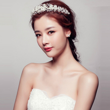 Trendy Silver Pearl Crystal Wedding tiara Hairband High Quality Forehead Women Rhinestone Hair Jewelry Bride Hair Accessories
