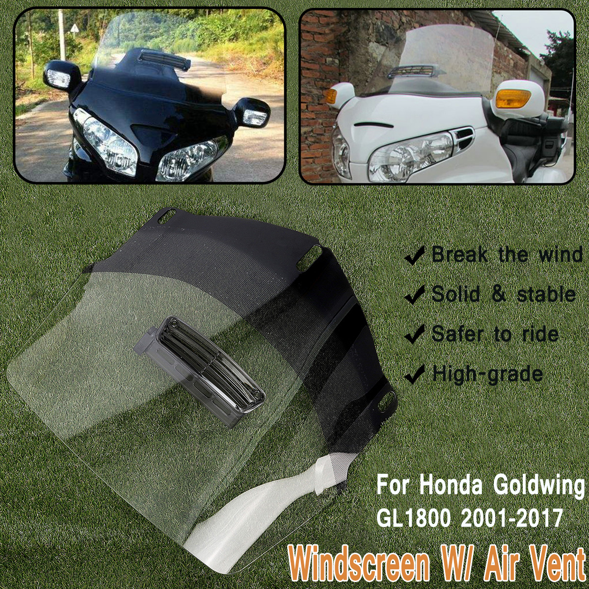 Clear Motorcycle Windshield Screen Protector W/ Air Vent Fits for Honda Goldwing GL1800 2001-2017 ABS Front Shield