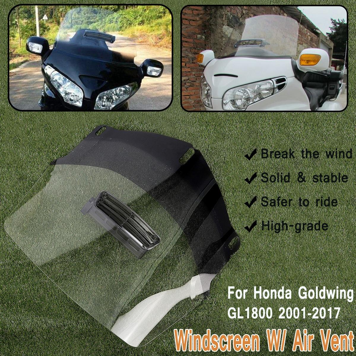 Effacer Moto Pare-Brise Protecteur D'écran W/Air Vent Adapte pour Honda Goldwing GL1800 2001-2017 ABS Avant Bouclier