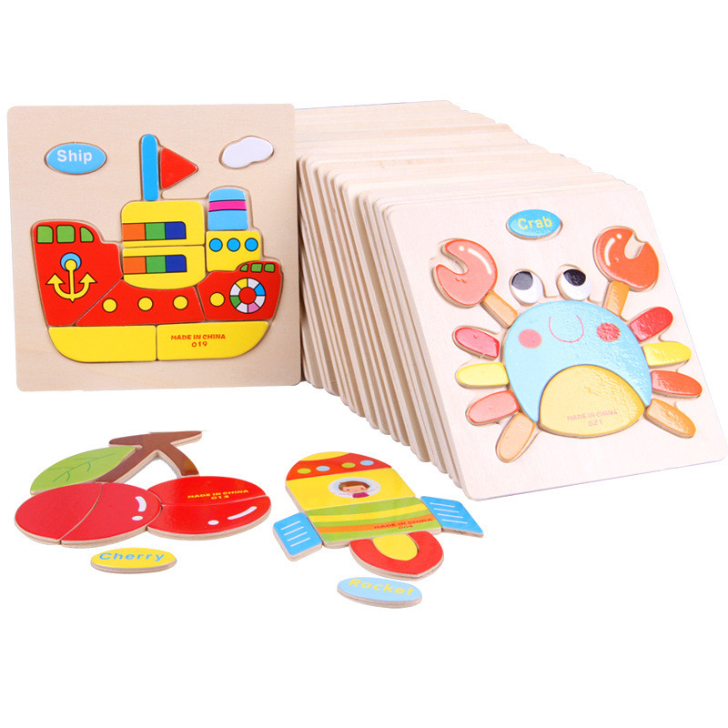 1pc Wooden 3D Puzzle Jigsaw Wooden Toys For Children Cartoon Animal Puzzles Intelligence Kids Children Educational Toy electric spider robot toy diy educational intelligence development assembles kids children puzzle action toys kits