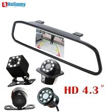 HaiSunny Новый 2 в 1 светодио дный ночного видения заднего вида камера с HD 4,3 «Автомобиль HD видео авто парковка зеркало заднего вида монитор