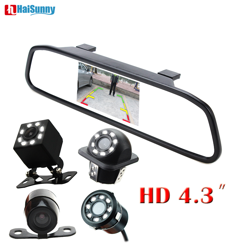 HaiSunny New 2 in 1 Car LED Night Vision Rear View Backup Camera With HD 4.3 Car HD Video Auto Parking Rearview Mirror Monitor