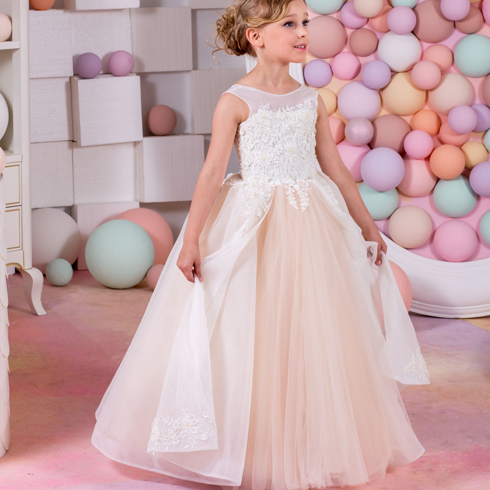 Crystal Pretty Flower Girl Dresses For Weddings Ball Gowns Little Girls Pageant Dress Long Gowns For Girls First Communion Dress