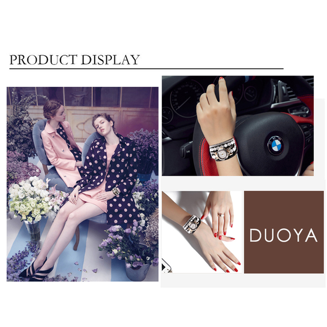 Duoya Brand Women Bracelet Watch 2016 Crystal Round Dial Luxury Wrist Watch For Women Dress Gold Ladies Leather Clock Watch