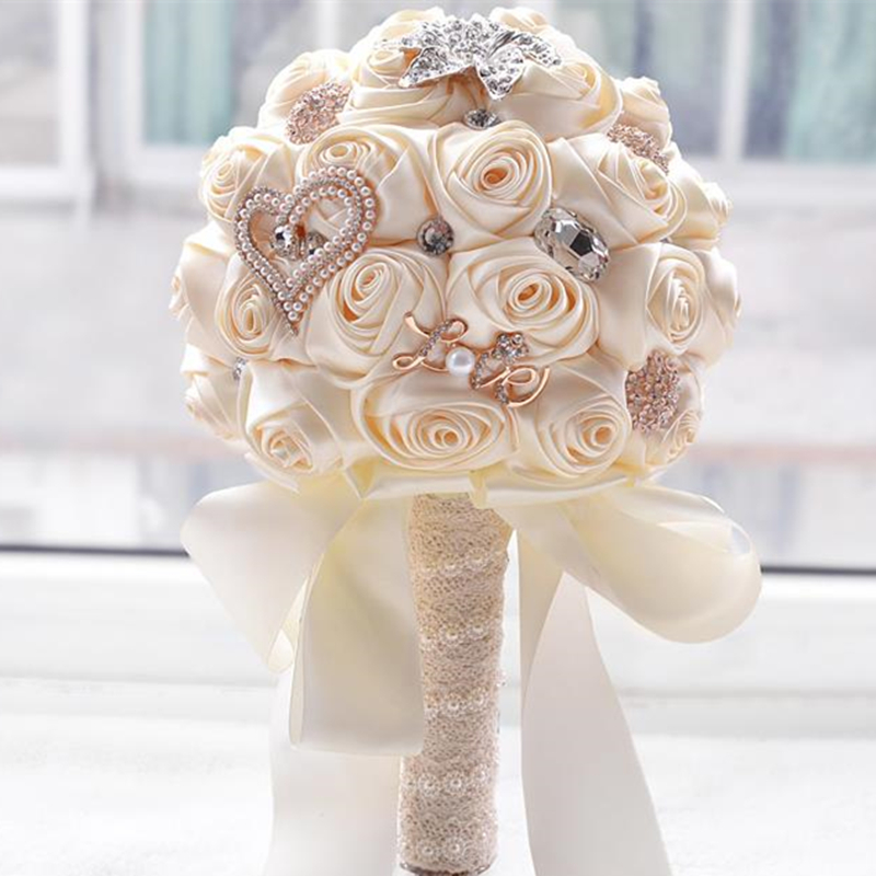 Hot artificial wedding bouquets hand made flower crystal bridal wedding bouquets for wedding decoration