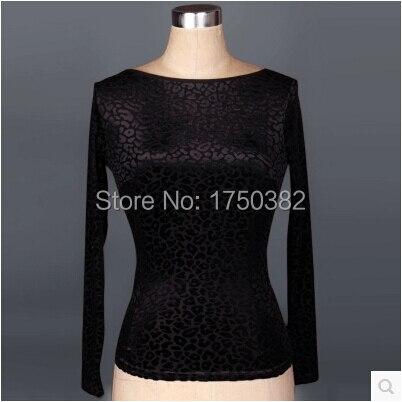 Latin dance costume senior Stone pattern long sleeves top women winter latin dance jaket latin dance exercise costume top