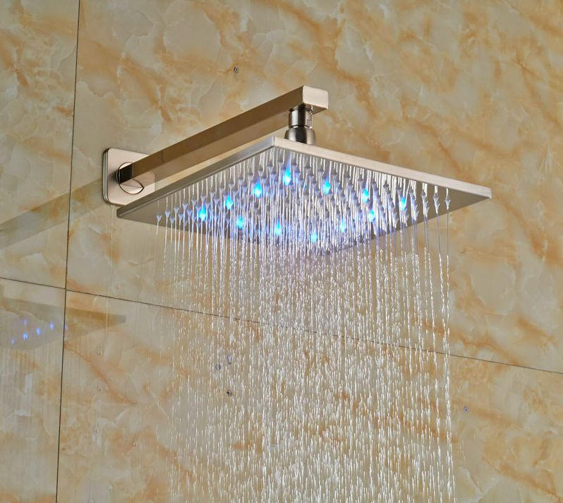 Luxury Bathroom 8-in Shower Head+Shower Arm LED Light Square Head Wall Mounted 8 bathroom copper colorful square top shower head silver