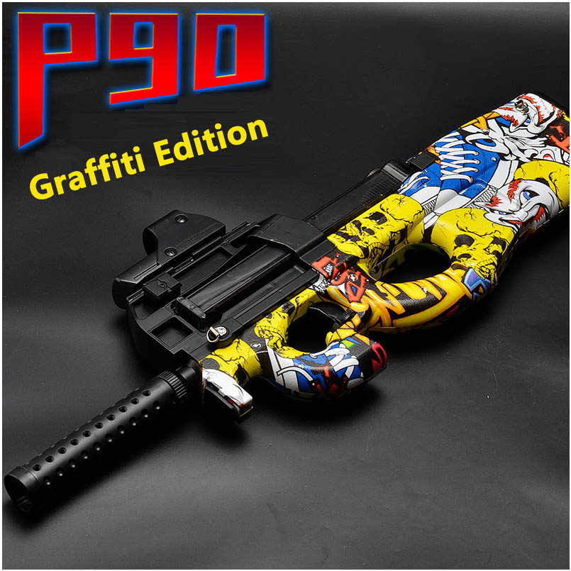 Elektrische P90 Graffiti Editie Speelgoed Pistool Live CS Assault Watersnip Simulatie Wapen Outdoor Soft Water Kogel Pistool Speelgoed Voor Jongens kids