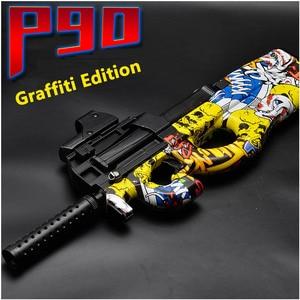 Image 1 - Pistola de juguete eléctrica P90 de Graffiti Edition, Arma de simulación de corte CS de asalto en vivo, pistola de balas de agua suave para exteriores, juguetes para niños