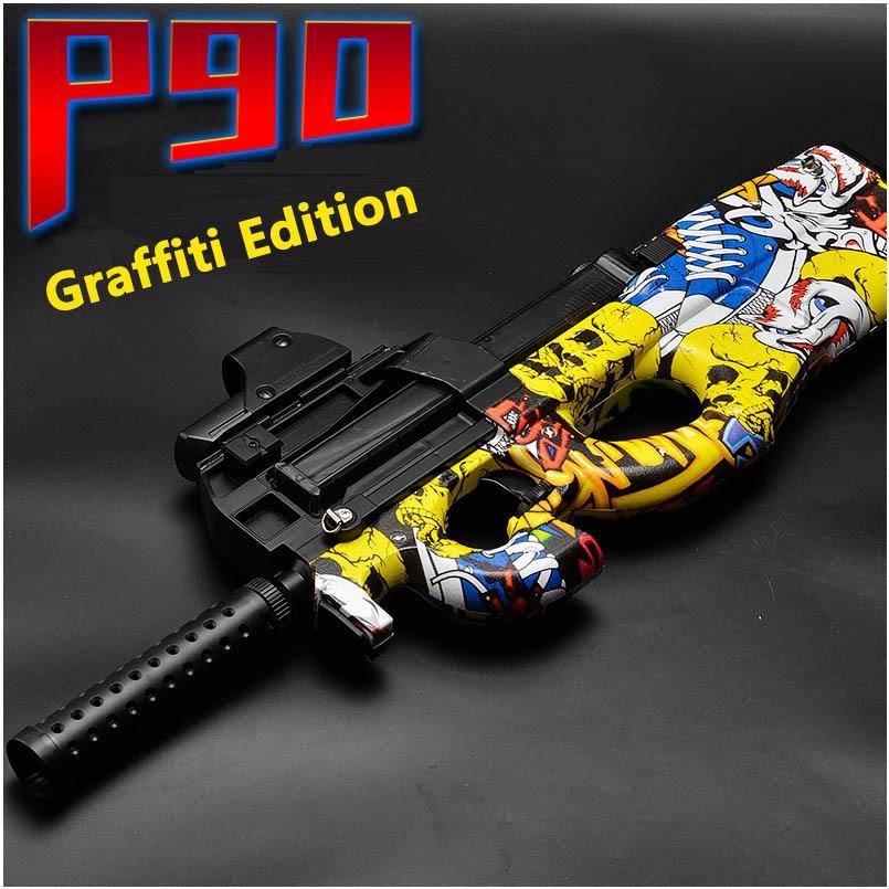 eletrica p90 graffiti edicao arma de brinquedo ao vivo cs assalto snipe simulacao arma de bala