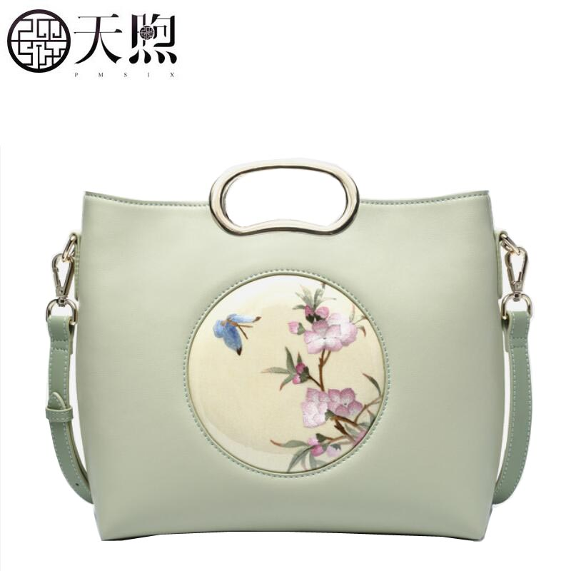 Famous brand top quality Cow Leather women bag 2018 new handmade Chinese style embroidered leather handbags Messenger Bag