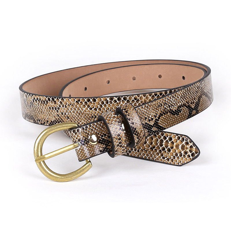 OLOME Vintage Punk Python Leather Belt Women Snake Skin Waist Belts Wide Female Gold Buckle Jeans Dress Belt For Ladies Girls