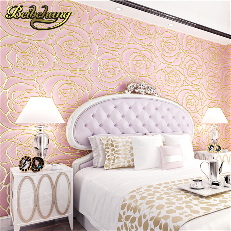 ФОТО beibehang 3d Embossed Wallpaper Non-woven Floral Design Wall Covering Modern Minimalist Style Living Room Tv Background