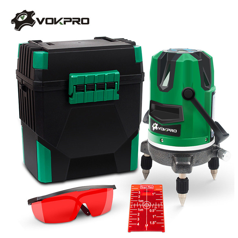 VOKPRO Laser Level 5 Laser Lines 6 Points Red Lines 360 Degrees Rotary Self Leveling Outdoor