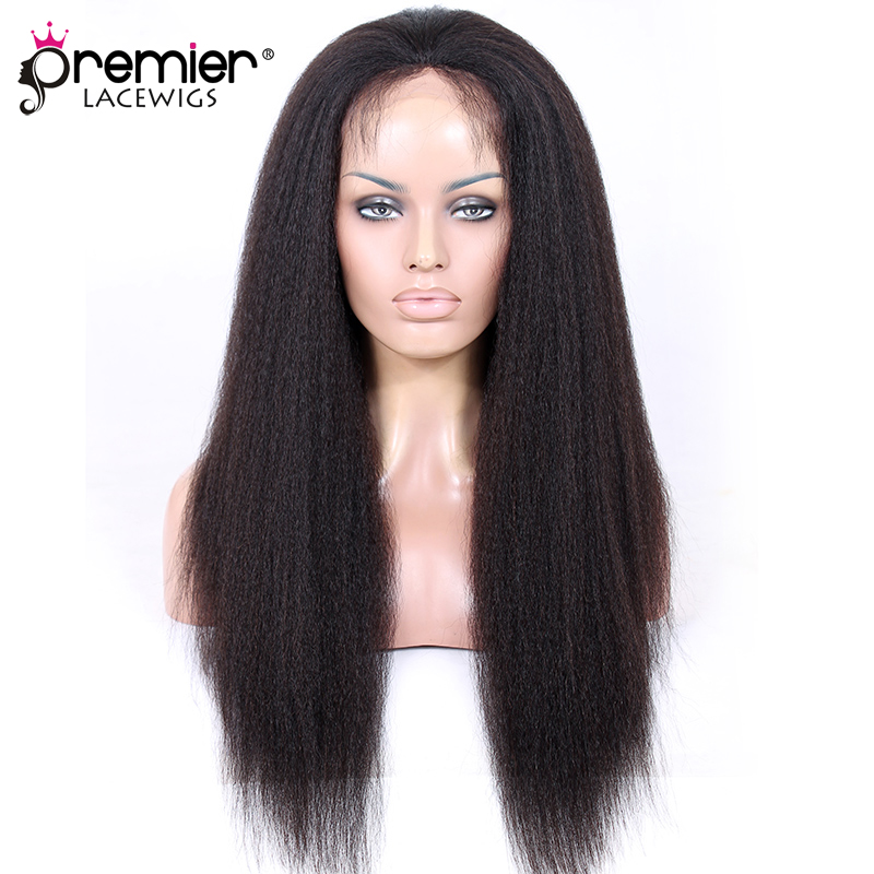 PREMIER LACE WIGS Glueless Human Hair Lace Front Wigs Kinky Straight Indian Remy Hair Lace Wigs With Baby Hair (LFW-I-KS)
