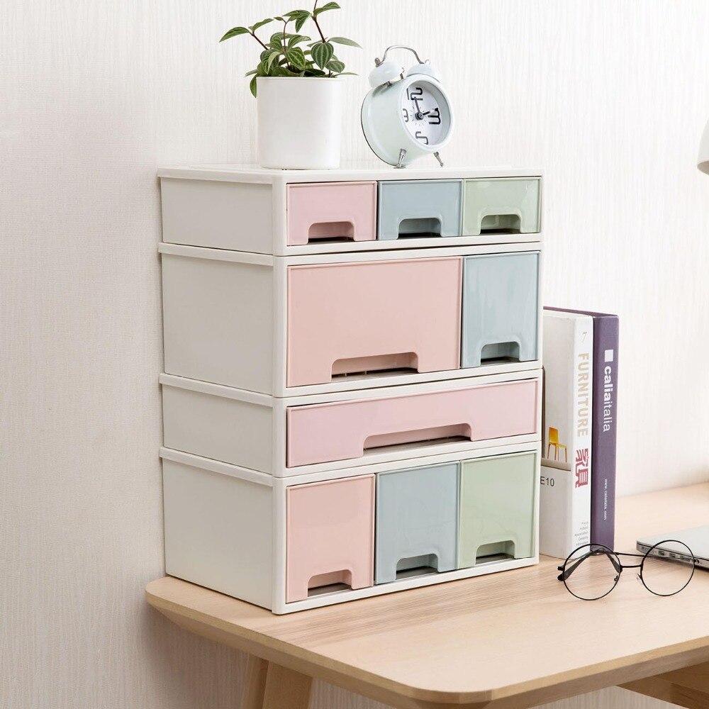 Caja de almacenamiento de cajones de escritorio de OTHERHOUSE caja de almacenamiento de artículos diversos estuche de papelería organizador de maquillaje joyero contenedor de cosméticos