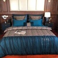 Синий модные роскошные золотые с леопардовым принтом 60 s египетского хлопка постельных принадлежностей Черное кружево вышивка пододеяльни