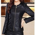 New Pu Leather Jacket Women 2 Color Slim O-neck Short Paragraph Motorcycle Jackets Solid Coat Zipper Spring And Autumn J364