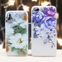 Soft Silicone Case For iPhone 6 6s 7 XS Max Girly 3D Flower Embossed Cover 8 Plus XR Coque Fundas