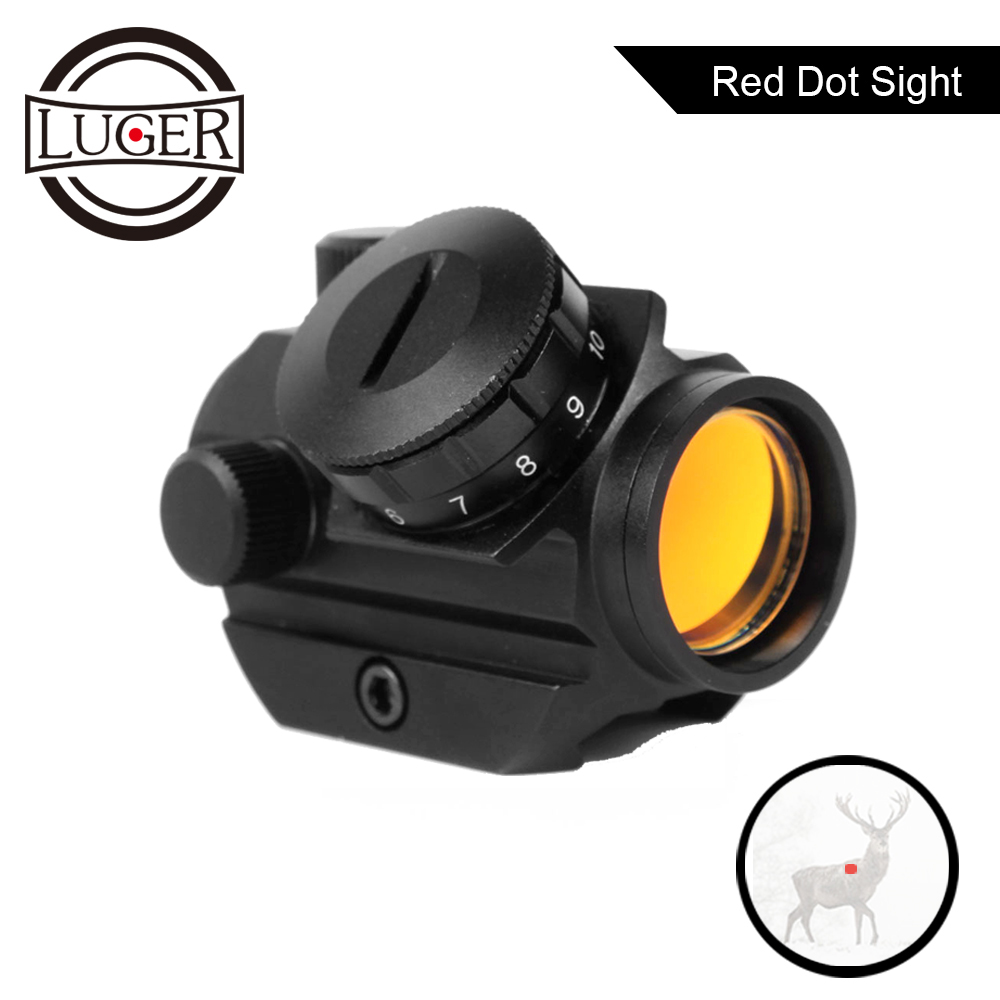 LUGER Low Power Compact 1X21 Red Dot Sight Scope 3 MOA Weaver Picatinny Mount Tactical Hunting Trail Rifle Mini Dot Sight