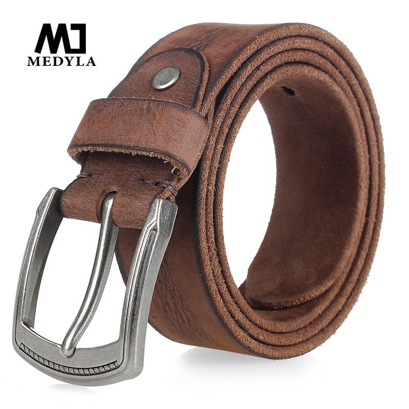 MEDYLA Cowhide Men's Pin Buckle Belt Vintage Luxury Men's Jeans Belt Full Grain Leather Belts Ceinture Cintos Waist Girdle