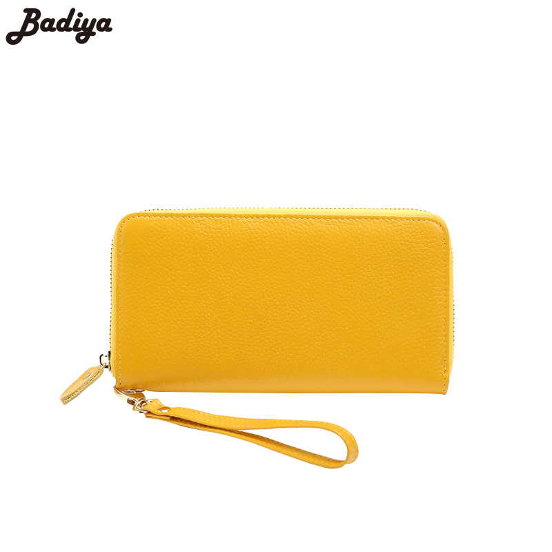 Genuine Leather Women Long Purse Fashion Ladies Solid Cow Leather Wallet Multifunction Bag For Phone Coin Purse Card Holder