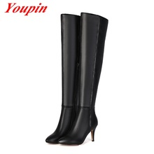 Winter 2015 New Fashion Women Boots Toe Warm Sexy Knee High Heels Boots Womens Genuine Leather Plus Size 34-43 Women Shoes Black