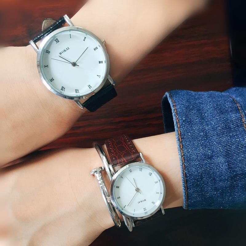 Couple Watches Black Fashion Leather Women Watch Men Relojes Zegarki Meskie Relogio Feminino Ladies Watch Couple Gift Clock Saat