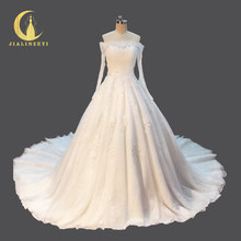Rhine Real Sample Boat Neck Long SLeeves Lace Appliques Long Train Bridal Wedding Gown wedding dresses 2018