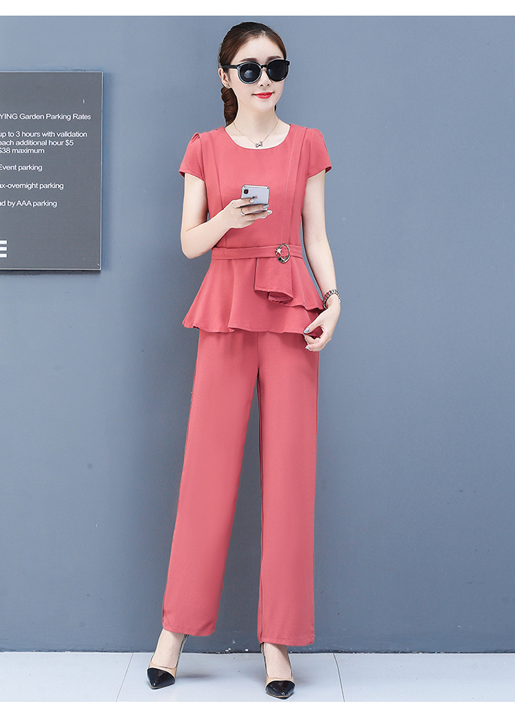 2019 Summer Chiffon 2 Two Piece Sets Outfits Women Plus Size Short Sleeve Tunics Tops And Pants Suits Office Elegant Korean Sets 55