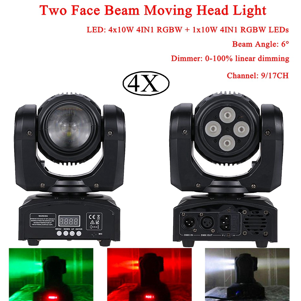 4Pcs/Lot 4x10W 4IN1 RGBW + 10W 4IN1 RGBW LEDs Two Face Beam Moving Head Light For Stage Theater Disco DJ Nightclub Party Lights 4pcs lot 10w led moving head light rgbw mini moving beams for dj party nightclub lives disco stage lighting ktv wedding party