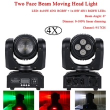 4Pcs/Lot 4x10W 4IN1 RGBW + 10W 4IN1 RGBW LEDs Two Face Beam Moving Head Light For Stage Theater Disco DJ Nightclub Party Lights 4units mini 4x10w super beam moving head lights 60w high brightness led beam lights perfect for dj disco party wedding shows