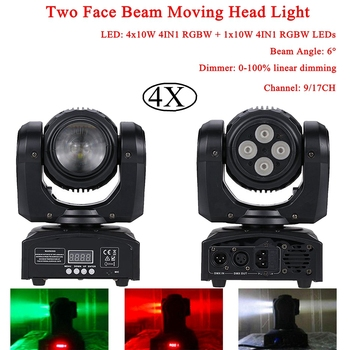 4Pcs/Lot 4x10W 4IN1 RGBW + 10W 4IN1 RGBW LEDs Two Face Beam Moving Head Light For Stage Theater Disco DJ Nightclub Party Lights 2pcs lot 4 in 1 led bar 7 10w moving head light rgbw 7 leds disco wash nightclub rainbow effect projector for wedding show