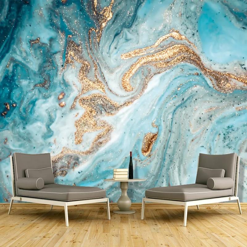 Custom 3D Wallpaper Modern Ink Landscape Abstract Golden Marble Texture Wall Painting Living Room Art Home Decor Blue Wallpapers