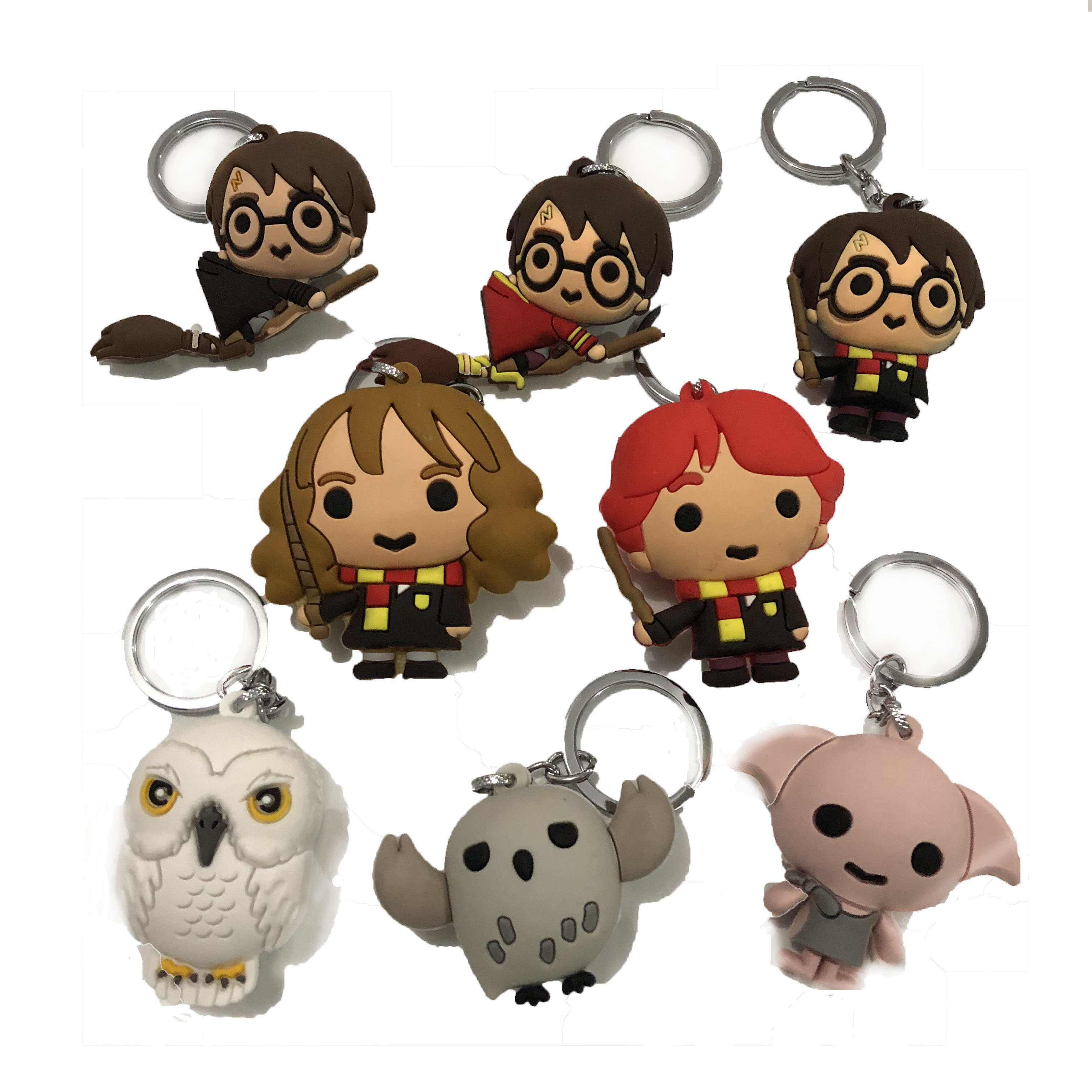 Active Pvc 3d Harri Potter Dobby Hermione Granger Owl Ron Lord Voldemort Red Potter Keychain Action Figures Doll Toys For Children Latest Fashion Action & Toy Figures