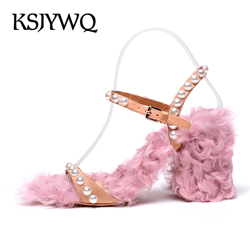 KSJYWQ 2018 Real Fur Women Sandals Sexy Open-toe Pearls Summer Style Pumps 8.5 CM Chunky Heels Woman Slingbacks Box Packing V101 ksjywq genuine leather flowers women sandals sexy exposed toe white shoes summer style clip toe shoes woman box packing a2571