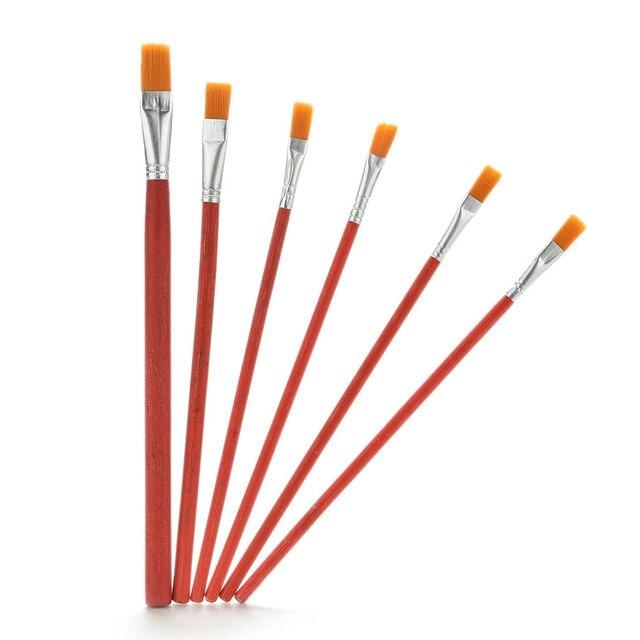 6 unids/set pincel de pintura de artista de pelo de nailon acuarela acrílico suministros de pintura al óleo al por mayor