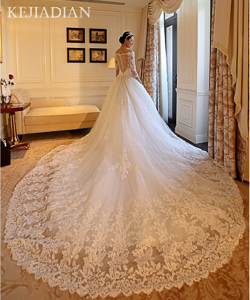 Royal Wedding Ball Gown: Gorgeous Wedding Dress 2019 Cathedral/Royal Train China