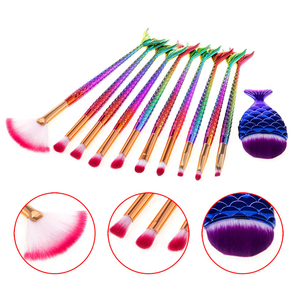 11 pcs  Mermaid Makeup Brushes Set Fantasy Eyebrow Eyeliner Blush Blending Contour Eyeshadow Cosmetic Beauty Make Up Fish Brush newest mermaid makeup brushes set fantasy eyebrow eyeliner blush blending contour foundation cosmetic beauty make up fish brus