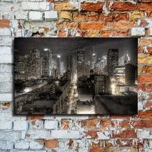 Canvas Painting 1 Piece Dark New York City Buildings Skyline Night Picture Modern HD Printing Type Wall Artwork Home Decorative